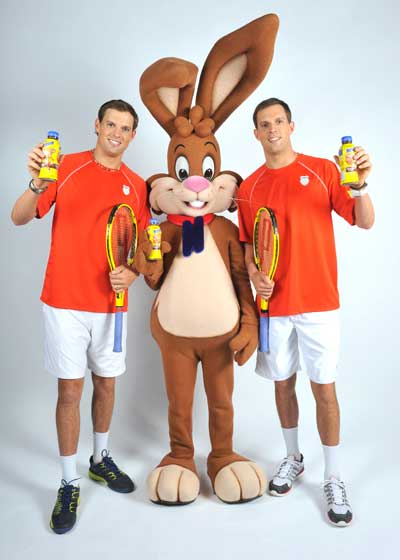 World tennis champions and sponsored Nesquik-athletes Bob and Mike Bryan, along with the Nesquik Bunny, enjoy the great taste of chocolate milk and have since they were kids