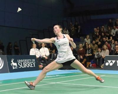 Line Kjaersfeldt in action for Surrey Smashers. Credit Gary Baker